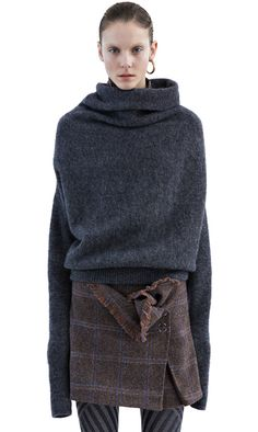 Acne Studios Vendome mohair dark grey melange Asymmetrical sweater