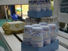Milch im Karton für den Kaufmannsladen ... Actimelfläschchen mit label