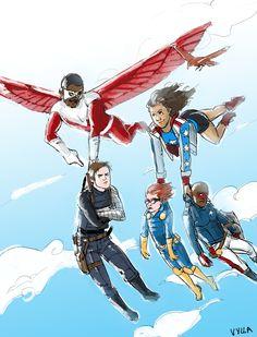 The Cap family: Sam Wilson (Falcon - Future Captain America), Bucky Barnes (Winter Soldier - Former Captain America), America Chavez (Miss America), Rikki Barnes (Nomad) and Eli Bradley (Patriot).