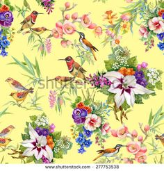 Watercolor Wild exotic birds on flowers seamless pattern on yellow background vector illustration