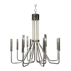 Dining: Nickel chandelier in the style of Karl Springer | 1stdibs.com