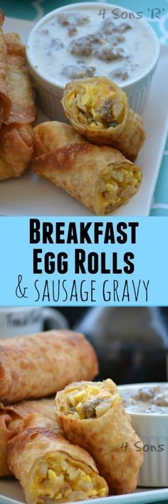 These AM eggrolls have three staple breakfast favorites (sausage, hashbrowns, scrambled eggs) all rolled up in one convenient crunchy package with sausage gravy on the side for dipping. They're quick & easy to boot, making them perfect for breakfast, lunch, dinner-- even a midnight snack!