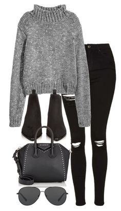 A fashion look from October 2016 featuring turtleneck top, ripped jeans and black boots. Browse and shop related looks. Edgy Outfits, Classy Outfits, Fashion Outfits, Vintage Outfits, Fall Winter Outfits, Autumn Winter Fashion, Winter Stil, Everyday Outfits, Teen Fashion