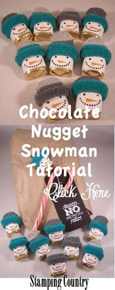 Chocolate Nugget Snowman Tutorial-Cute little gifts and Great Gift Toppers-Christmas-Winter-Kids Gift Idea  www.stampingcountry.com