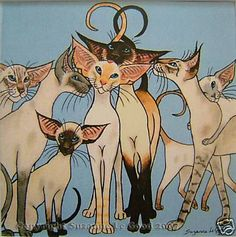 EDIT. SIAMESE CAT PAINTING PRINT BY SUZANNE LE GOOD | eBay