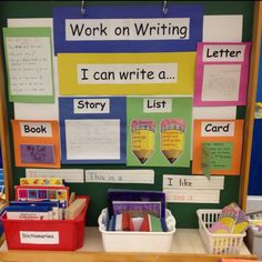 Samples of what students can work on include: Letter writing List making Story writing Start a Topic book (a book all about topic of student& choice) Comic strips Card making. All materials available for students at one location. Writing Station, Writing Area, Writing Lists, Work On Writing, Writing Lessons, Teaching Writing, Writing Activities, Writing Centers, Letter Writing