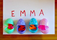 How to Run a Home Daycare shares how to use plastic easter eggs for Letter Learning Easter Games that can be adjusted to 4 different ability levels. at B-InspiredMama.com