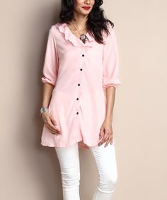 Another great find on #zulily! Blush Chiffon Ruffle Button-Down Tunic #zulilyfinds
