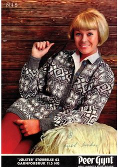 Peer Gynt Garn - Knitting instructions in Norwegian Knit Jacket, Leather Jacket, Norwegian Knitting, Fair Isle Pattern, Fair Isle Knitting, Jacket Pattern, Vintage Knitting, Bunt, Knitting Patterns
