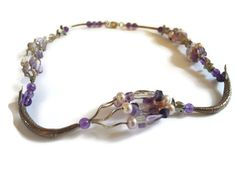 NECKLACE OF AMETHYST, FLUORITE, PEALRS AND THAI SILVER