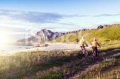 relax biking in Norway royalty-free stock photo