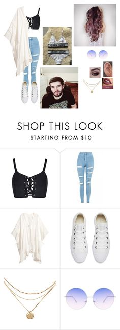 """Casual Date With Josh"" by sidemenarecoolio ❤ liked on Polyvore featuring Topshop, Converse and Skinnydip"