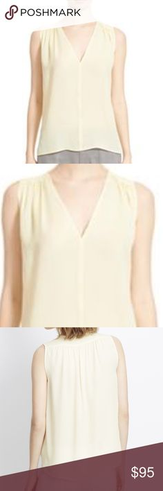 "Vince Sleeveless Shirred Silk Top This blouse is lovely in person. It's approx. 20"" across the bust,  The front length is 25"" and the back length is 27."" The color is called natural but it is closer to a yellow/cream. Vince Tops Blouses"