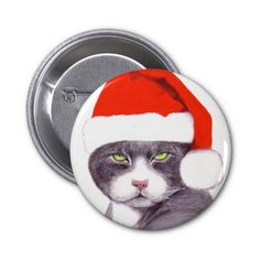 Gray Cat with Santa Hat Pinback Button