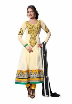 Fabdeal Indian Designer White & Yellow Pure Georgette Embroidered Salwar Kameez Fabdeal, http://www.amazon.de/dp/B00IL75TDC/ref=cm_sw_r_pi_dp_TFtmtb0ZVNKC5