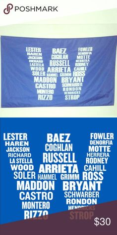 Brand new Chicago Cubs W players flag! 3X5 *Brand new, never used, unopened in poly bag* Rare flag! This is a custom printed flag representing the Chicago Cubs 2016 World Series championship with the Chicago Cubs W players names! It's 3X5 and has grommets for a flagpole. Looks great on a wall, in a window, or in front of a house! Chicago Cubs Other