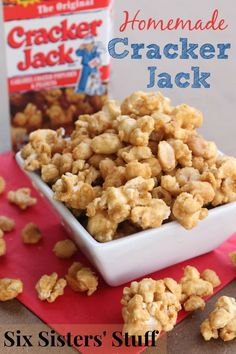 Six Sisters Homemade Cracker Jack Recipe is our favorite snack loaded with peanuts! Popcorn Snacks, Candy Popcorn, Popcorn Recipes, Snack Recipes, Cooking Recipes, Cooking Popcorn, Popcorn Bowl, Flavored Popcorn, Peanut Recipes