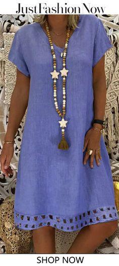 V-Ausschnitt Damen Sommerkleider A-Linie Tageskleider Moda Hijab, Latest Fashion For Women, Womens Fashion, Ladies Fashion, Summer Dresses For Women, Summer Casual Dresses, Sundresses Women, Casual Outfits, Fashion Outfits
