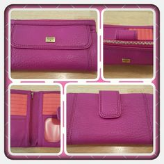 NWT Genuine Fuchsia Leather Fossil Clutch  Brand New Genuine Leather Fossil Fuchsia Clutch. This Is A Gorgeous Wallet With So Much Space And Plenty Of Card Slots Plus Zippered Pockets For Change And Small Items Like Keys. Excellent New Condition Such A Pretty Color For Spring & Summer  TRADES  PAYPAL  OFFERS ACCEPTED PRICE IS FIRM  Fossil Bags Clutches & Wristlets