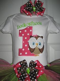 Boutique Look Whoos One owl First Birthday Tutu by PolkaDotCloset, $37.00 (birthday outfit)