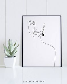 Elegant One Line Face Art, Woman Face, Fashion Sketch Printable, Black and White Female Drawing Poster, Minimalist Beauty Illustration Print. INSTANT DOWNLOAD This listing is for a DIGITAL FILE of this artwork. No physical item will be sent. You can print the file at home, at a local