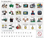 Topic setting board, great to help with context for verbal communications with intelligibility problems.