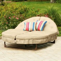 An Orbit Lounger on Beach - This double chaise lounge is awesome outdoor patio furniture and you can even get replacement cushions. : chaise replacement cushions - Sectionals, Sofas & Couches