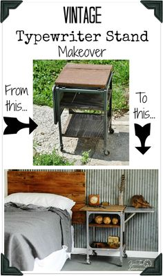 Typewriter Stand Gets an Industrial Rustic Makeover - Before and After - Knick of Time