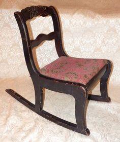 Vintage TELL CITY Mahogany Duncan Phyfe Carved Rose CHILDS ROCKER Rocking Chair #TellCity
