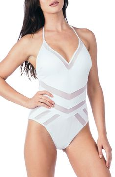 6a133370a1 Free shipping and returns on Kenneth Cole New York Mesh One-Piece Swimsuit  at Nordstrom