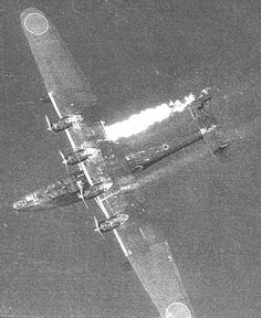 Japanese Emily H6K aflame after being attacked by Allied aircraft, date unknown