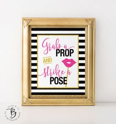 Kate Spade Inspired Grab a Prop and Strike a Pose Photo Booth - Bridal Shower, Baby Shower, Bachelorette, Wedding, Birthday Printable Sign
