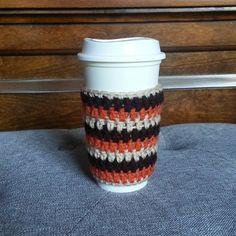 Coffee Cup Sleeve in Brown Orange & Beige by NandysNook on Etsy