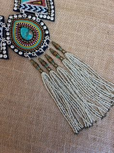 Bead Embroidery Necklace with Turquoise Tibetan от perlinibella