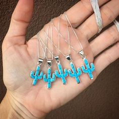 Our handcrafted, sterling silver Sleeping Beauty Turquoise reversible cactus necklaces! Available in our shop, while supplies last ? Cute Jewelry, Body Jewelry, Jewelry Accessories, Jewelry Design, Jewlery, Skull Jewelry, Jewelry Box, Turquoise Jewelry, Silver Jewelry