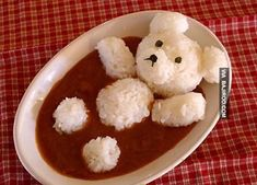 So Cute!  Roll sticky rice into the ball shapes that form the bear.  Then add it to any bowl of soup, stew or curry that you would traditionally use rice in.