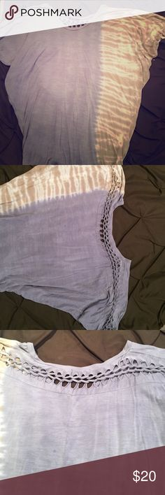 Tie dye off the shoulder Gently used blue and brown tie dye loose fitting t shirt off the shoulders. T party Tops Tees - Short Sleeve