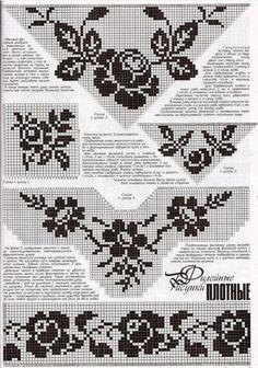 filet crochet neckline Plus Filet Crochet Charts, Crochet Borders, Crochet Diagram, Knitting Charts, Crochet Motif, Crochet Doilies, Crochet Stitches, Crochet Puff Flower, Crochet Flower Patterns