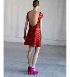An evening dress with sequins red Asos