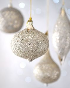 silver gold christmas - White And Gold Christmas Ornaments