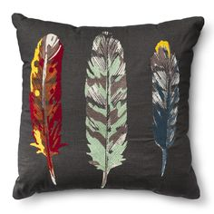 Threshold™ Feathers Toss Pillow - Multicolor (Sq... : Target