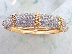 Swan Signed Swarovski Bracelet gold tone and clear rhinestones AB769
