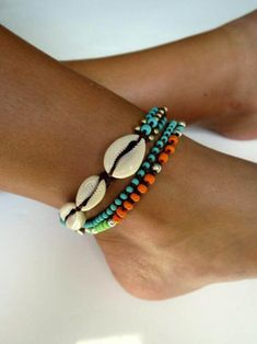 Anklets Beaded anklet shell anklet beads anklet knotted anklet cowrie shells turquoise orange gold filled and silver beads colorful Bohemian anklet Shell Jewelry, I Love Jewelry, Beach Jewelry, Bohemian Jewelry, Women Jewelry, Feet Jewelry, Bohemian Rings, Bohemian Necklace, Bohemian Bracelets