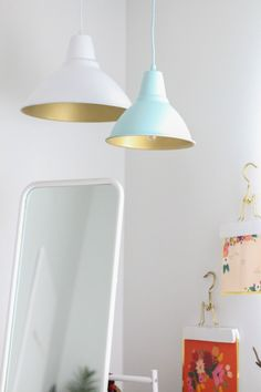 Whoa. Now this DIY is beyond. These matte exterior/gold interior pendant lamps look so chic, so current, and frankly- so expensive. Love that in a DIY. Especially when there's a full, free tutorial included. Yes please!