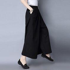 Women-Loose-Fit-Vintage-Wide-Leg-Cotton-Linen-Dress-Pants-Long-Culottes-Trousers