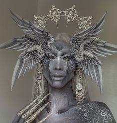Halloween Inspo, Halloween Makeup, Black Viel Brides, Cool Makeup Looks, Angel Warrior, Make Up Art, Special Effects Makeup, Creative Photography, Body Painting