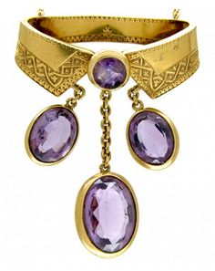 Vintage Jewelry Circa 1870 French Gold and Amethyst Necklace that has been bright cut engraved, and has three amethyst drops. - For Sale at The Antique Jewellery Company - French Gold Jewelry Art, Jewelry Accessories, Fine Jewelry, Fashion Jewelry, Gothic Fashion, Edwardian Jewelry, Antique Jewelry, Vintage Jewelry, Amethyst Jewelry