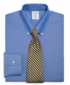 Brooks Brothers Non-Iron Slim Fit Button-Down Collar Dress Shirt - French Blue