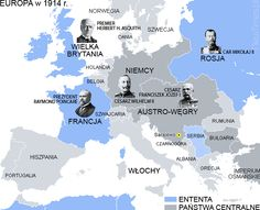 World War I - Entente and Central Powers in 1914.