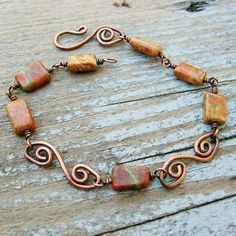 Unakite and Antiqued Copper wire wrap and by BearRunOriginals, $18.00 Love the fancy S links she made.
